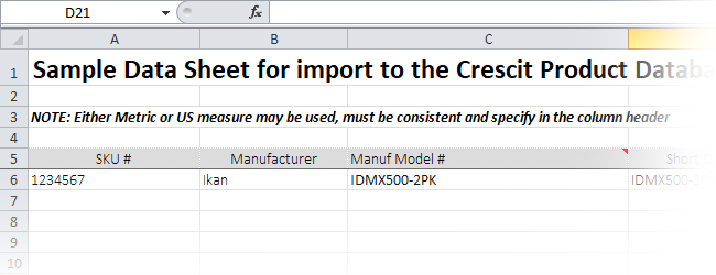 Cresct Product Data XLS Template