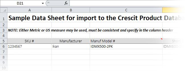 Cresct Product Data XLS Template