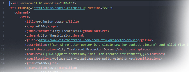 Product Data XML Template